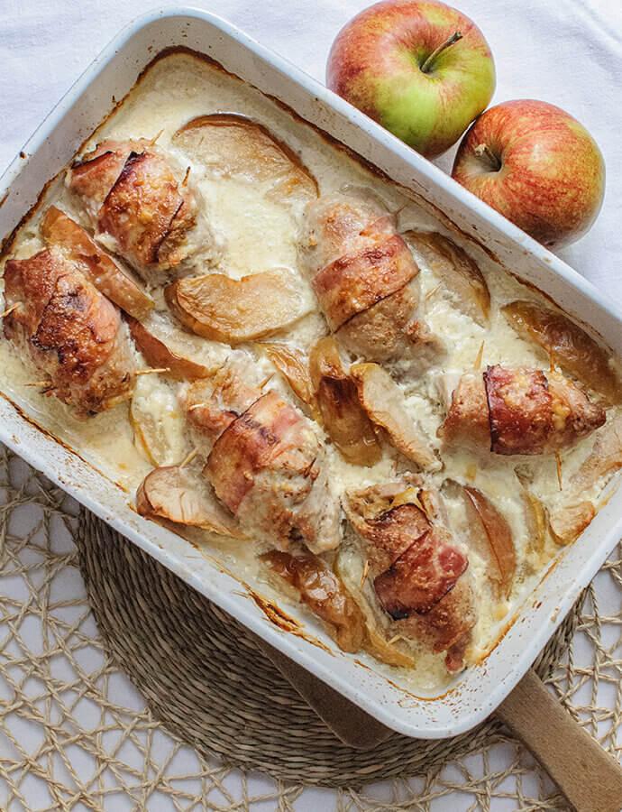 Vepřové závitky s jablky a křenem